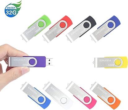 10 Piezas 32GB USB 2.0 ENUODA Pendrive Multicolor Pivote Memorias ...