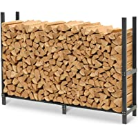 Pilgrim Home and Hearth Pro 72″ Outdoor Firewood Rack Wood Holder with Cover, Durable Black Powder Coat