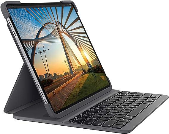 Logitech Slim Folio Pro para iPad Pro de 12,9 pulgadas (3.ª y 4.ª generación, Model: A1876/A2014/A1895/A1983/A229/A2233), funda con teclado Bluetooth ...