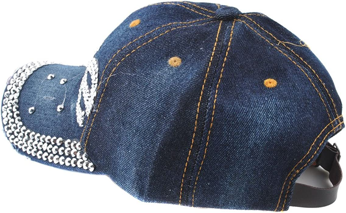 de87d795ce7 arriving 92eaf 056c1 Cute Love Womens Baseball Cap Jewel Rhinestone Bling  Hats Jeans Wash Denim Gift ...