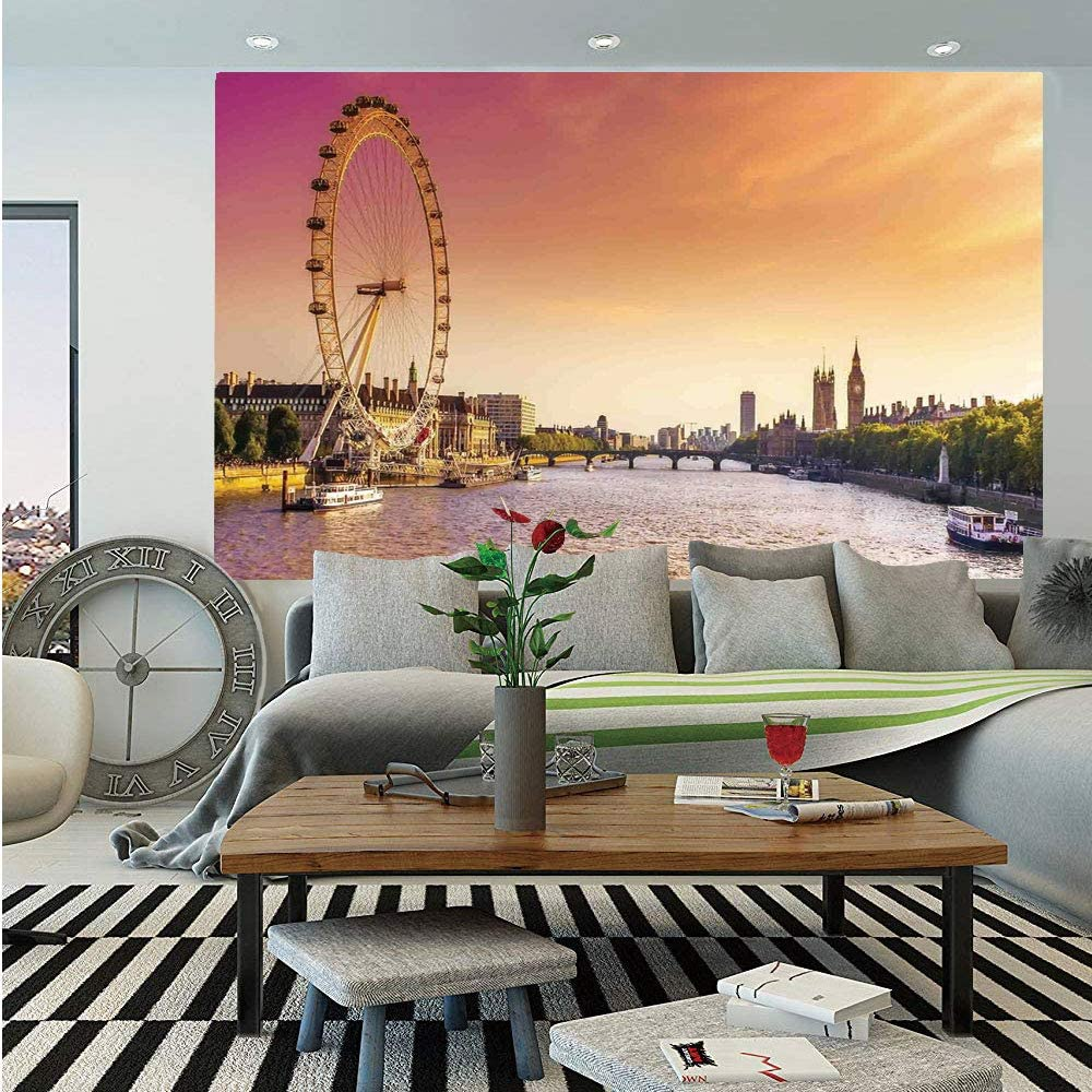 SoSung London Wall Mural,Sunset View Bridge on Thames River Ferris Wheel London Eye Big Ben Westminster,Self-Adhesive Large Wallpaper for Home Decor 83x120 inches,Peach and Pink