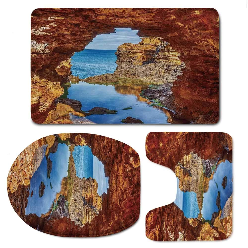 YOLIYANA Seaside Decor Bathroom 3 Piece Mat Set,Cavern Rocks by The Pacific Waters with Stunning Australian Sea and Sky Landscape Road for Indoor,F:20'' W x31 H,O:14'' Wx18 H,U:20'' Wx16 H