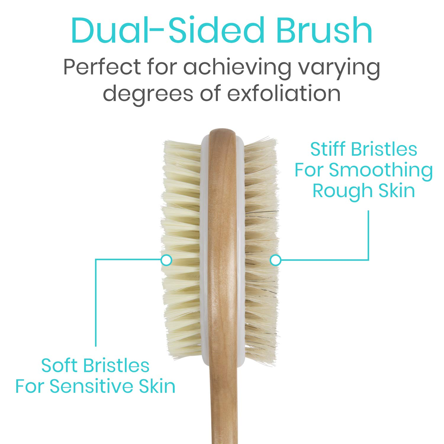 Vive Body Brush - Dry Skin Shower Exfoliator - Bath Scrubber For Wash Brushing, Exfoliating, Cellulite, Foot Scrub, Leg Exfoliant - Soft and Stiff Massage Bristles - Wooden Long Handle