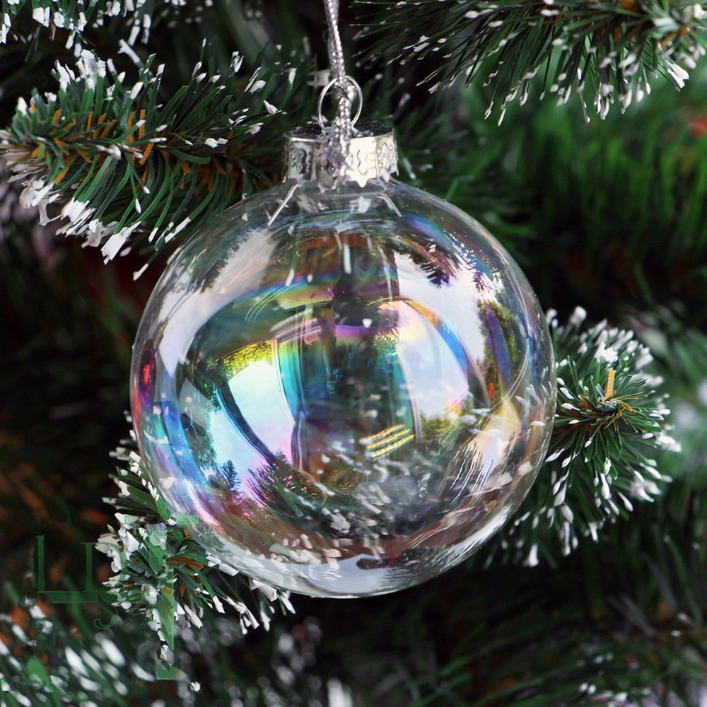 8pcs 8cm Clear Iridesecnt Glass Christmas Baubles Ball Xmas Tree Hang  Ornament: Amazon.co.uk: Kitchen & Home