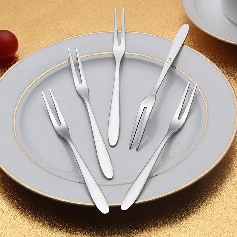 Tenedores de Frutas 10 Piezas Juego de Tenedores de Pastel Juego de Tenedor de reposter/ía Tenedor de Postre de c/óctel de Acero Inoxidable