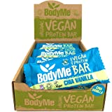 BodyMe Organic Vegan Protein Bar | Raw Chia Vanilla | Box of 12 x 60g (2.12oz) | With 3 Plant Proteins