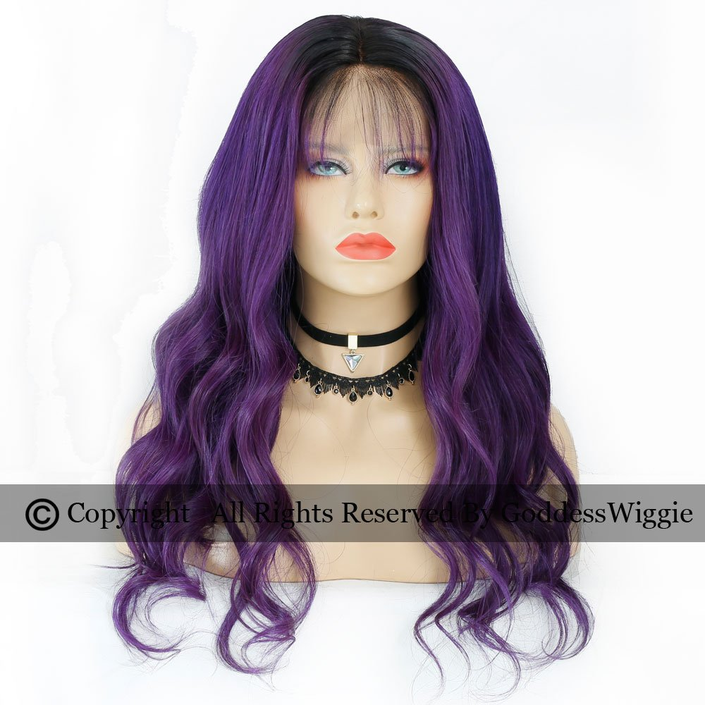 Ombre Purple Hair Color Ombre Body Wavy Glueless Brazilian Human Hair Lace Front Wigs For Women (22inch 150density)