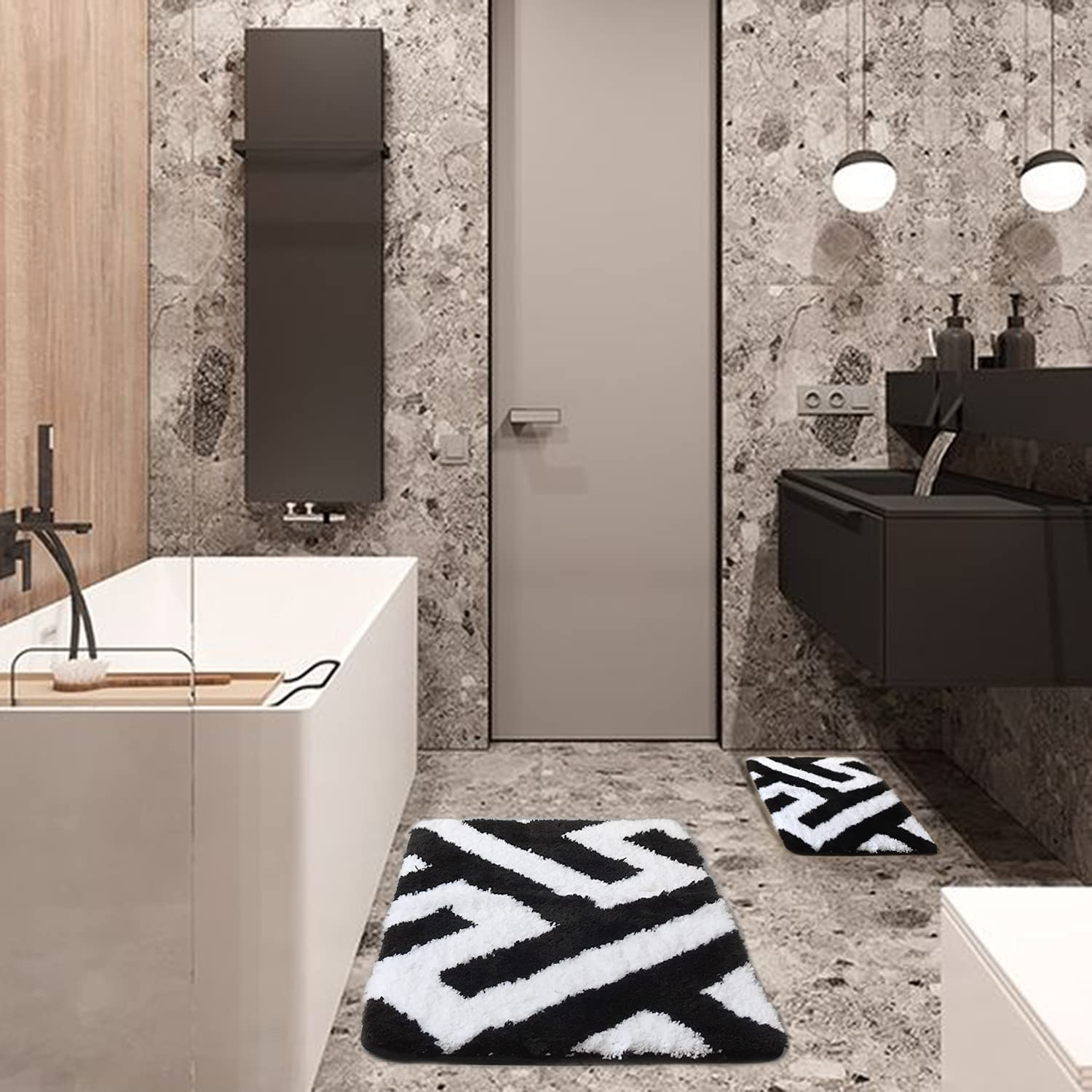 Black and White Bathroom Rugs New color Mats Non-Slip Special price 2 Sets Piece- Wa