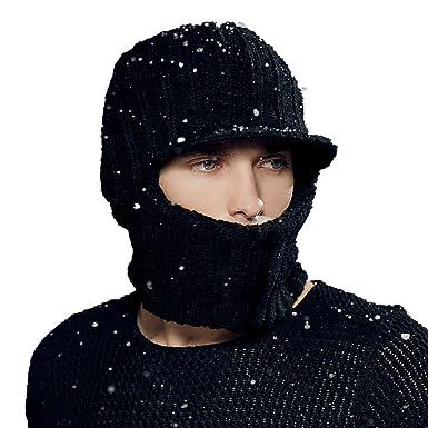 ec3670ef41d Kenmont Winter Outdoor Warm Men Knit Balaclava Earflap Beanie Hat Peak Mask  Cap (Black)  Amazon.co.uk  Clothing