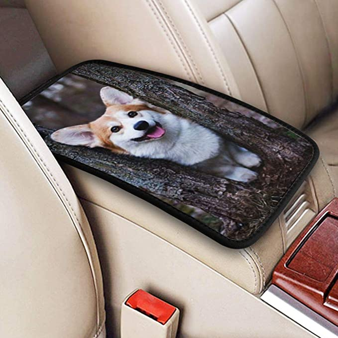 YORXINGY Car Armrest Box Cover Horse in American Flag Design Personalize Decor Accessory Center Console Armrest Waterproof Fabric