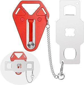 Portable Door Lock - Solid Travel Door Lock - Add Security Hotel Door Jammer from Inside - Sturdy Self-Defense Door Security Device for Home, Apartment, Living Motel, AirBNB, School Dorm. (1)