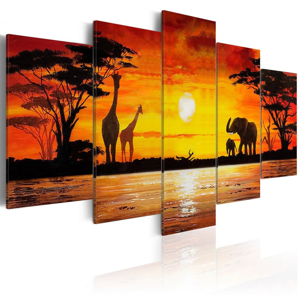 "Konda Art Giraffe Canvas Prints Wall Art Animals Paintings Reproduction Pictures for Living Room Modern 5 Panel Stretched and Framed African Sunset Landscape Giclee Artwork (Hot Safari, 40""x 20"")"