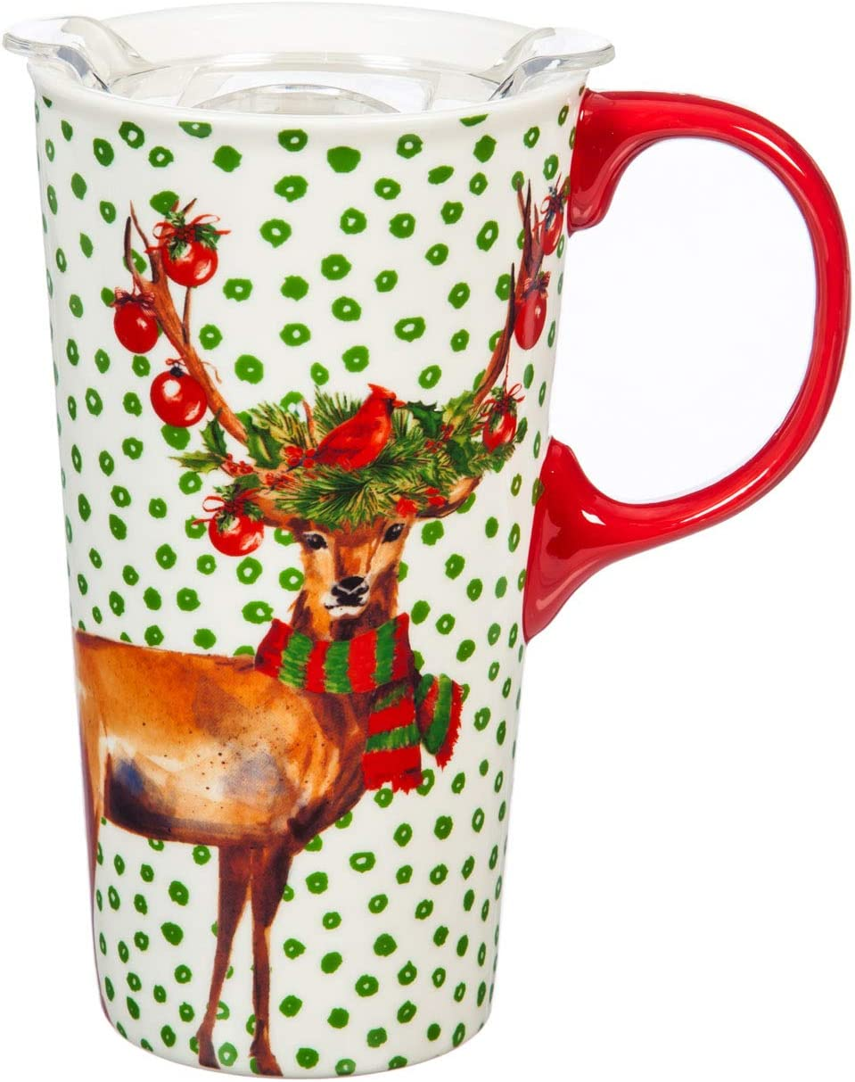 Cypress Home Festive Deer Ceramic Travel Cup and Tritan Lid - 17 OZ