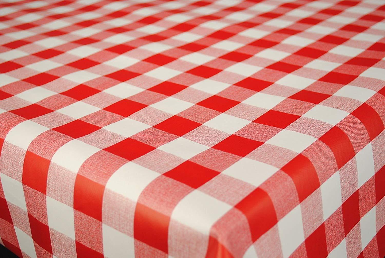 CHILDREN PVC OIL VINYL PLASTIC TABLE CLOTH PICNIC RED WHITE GINGHAM CHECK