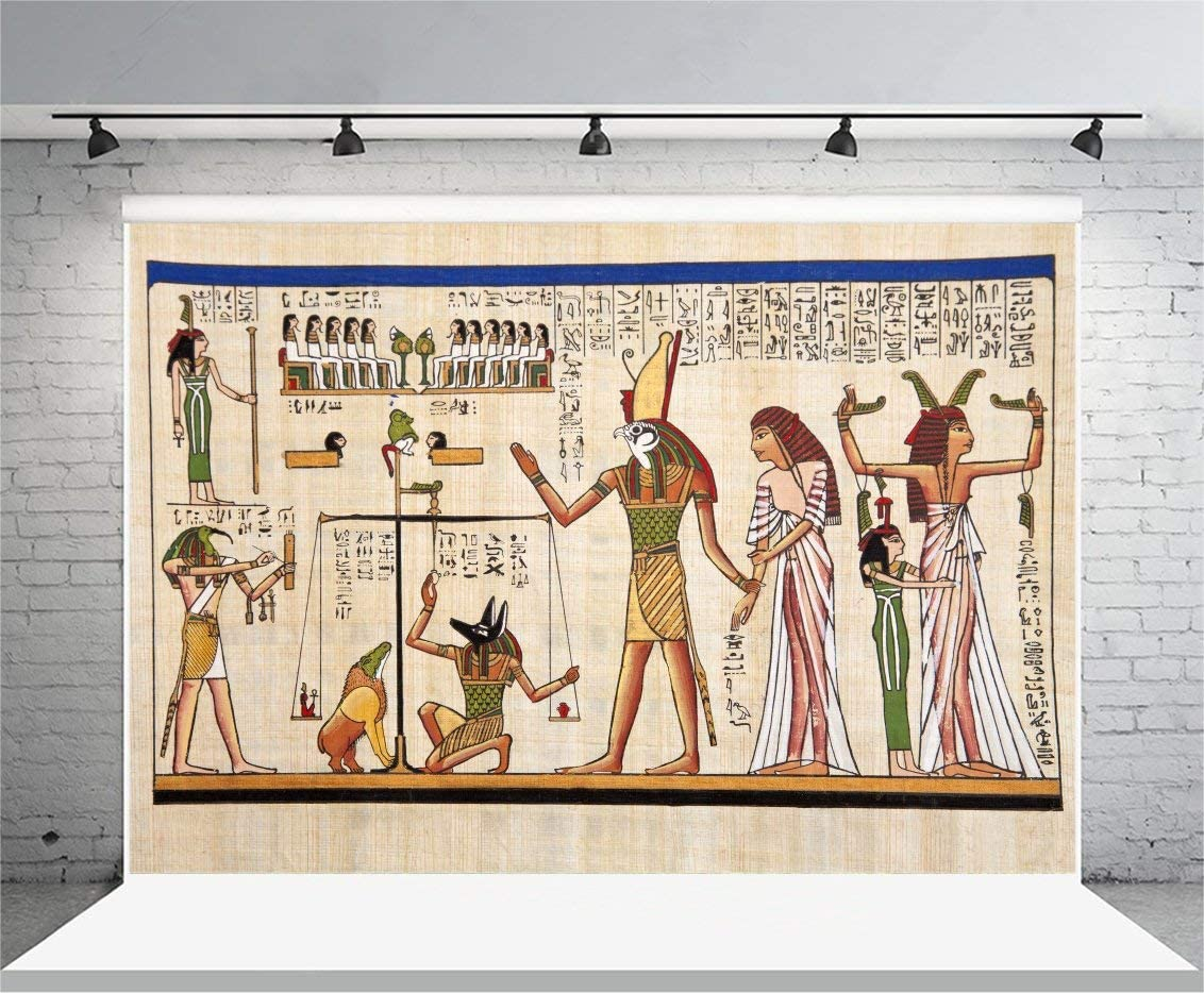 7x5FT Polyester Photography Background Antique Egyptian Papyrus and Hieroglyph Wall Drawing Figures Pattern Backdrops Adults Wedding Party Photographic Shooting Video Studio Props 2.2x1.5m