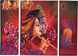 MAHAGAURI ART & SIGN Wall Mounted Decorative Rectangular Printed Paintings for Living Room | Wall Hanging Radha Krishna & Peacock Digital Print Poster for Bedroom Home Decor | Multicolor, Set of 3
