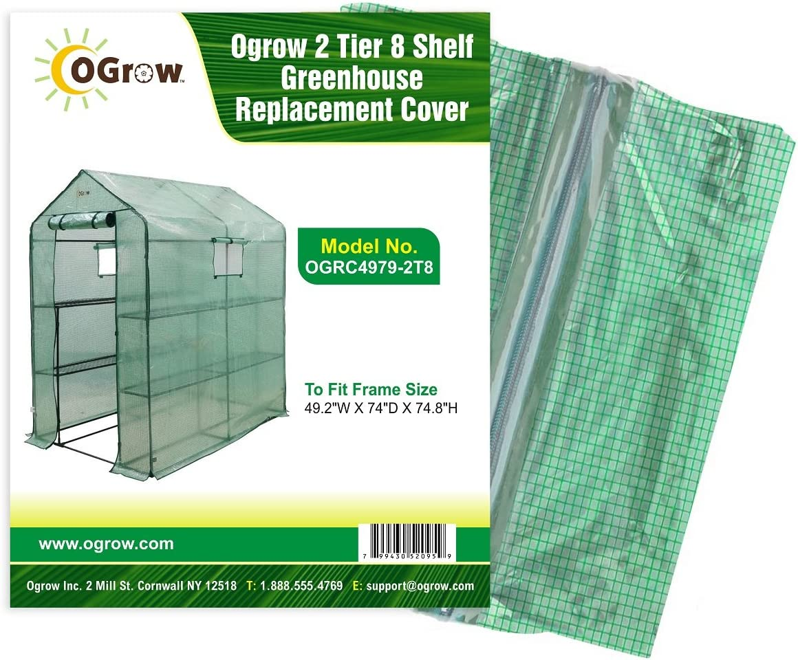 """To Fit Frame Size  19.3/""""W X 27.2/""""D X 78.7/""""H 5 TIER Greenhouse Replacement Cover"""