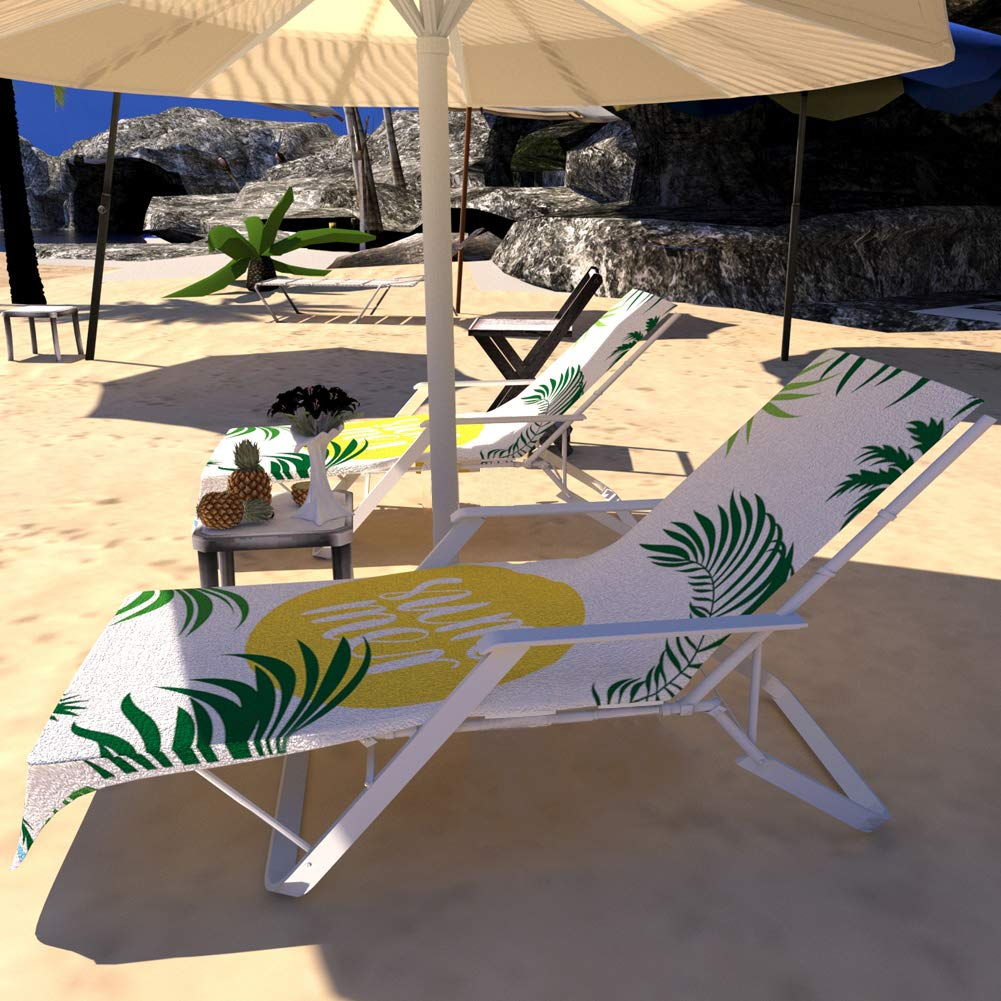 Indusleaf Beach Chair Chaise Lounge Cover Lounge Towel Pool Chair Cover Absorbent Beach Chair Cover with Side Pocket Outdoor Patio Holidays Sunbathing