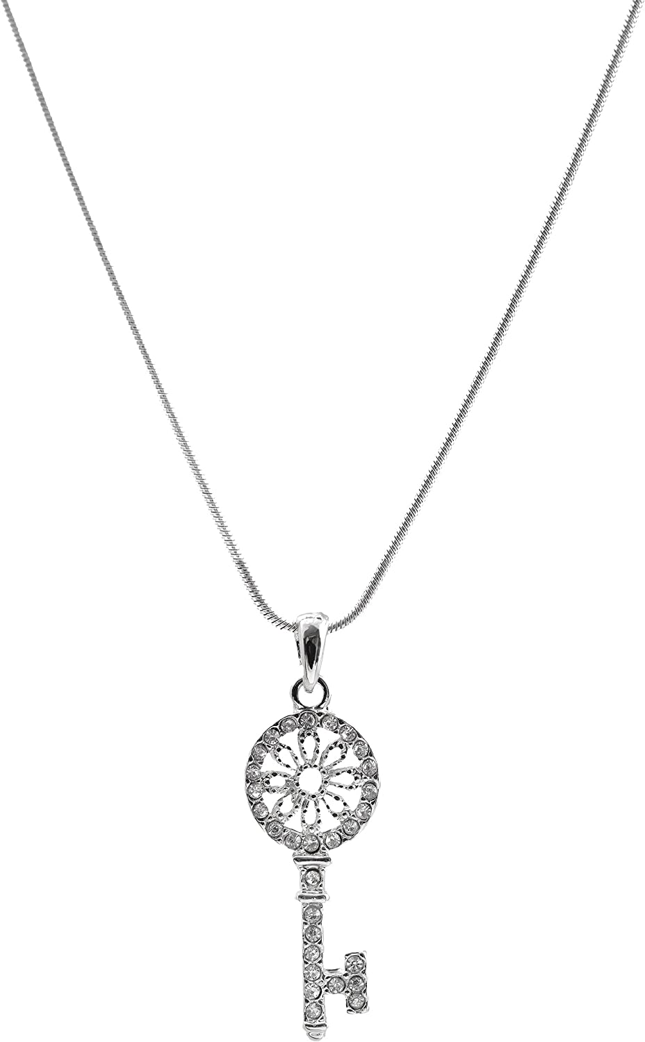Spinningdaisy Perfect Crystal Gorgeous Floral Round Key Necklace