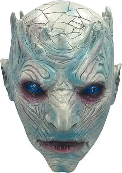 Adult Men/'s White Walker Game of Thrones Halloween Cosplay Costume Mask W// Hair