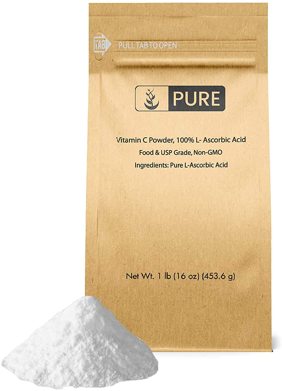 Pure Vitamin C Powder (1 lb.), Eco-Friendly Packaging, L-Ascorbic Acid, Antioxidant, Boost Immune System, DIY Skin Care
