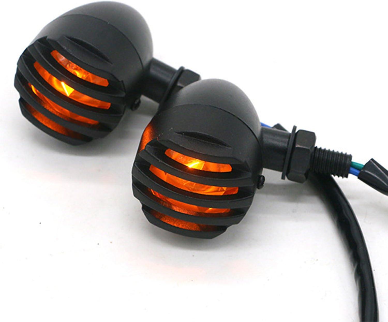TASWK Black Heavy Duty Motorcycle Turn Signals Bulb Indicators Blinkers Lights a Pair