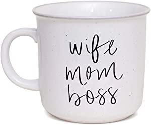 Sweet Water Decor Coffee Mugs for Mom | Cute 15oz Ceramic Campfire Style Coffee Cup Microwave & Dishwasher Safe | Large Mug For First Time Moms, Mother's Day, Birthdays, & Holidays (Wife Mom Boss)