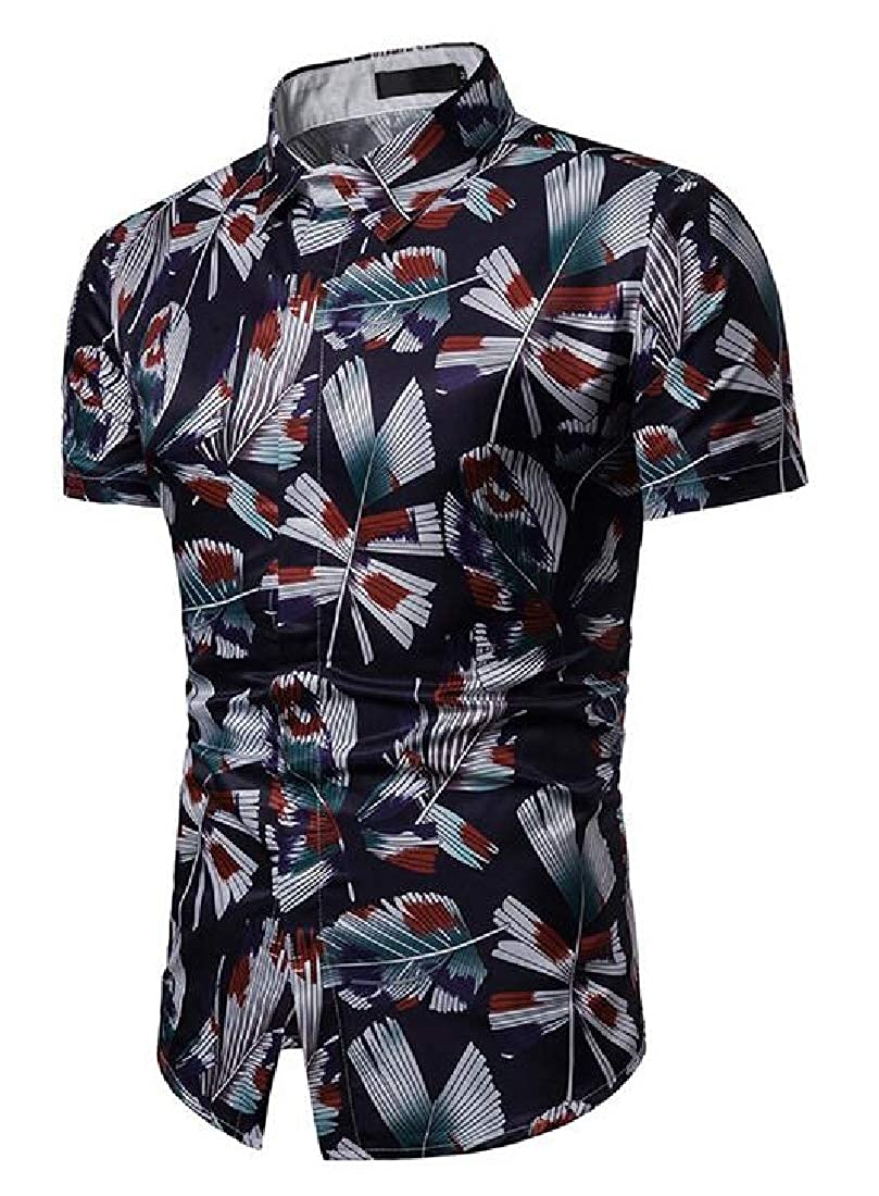 Domple Mens Summer Short Sleeve Hawaii Beach Lapel Print Button Up Shirt