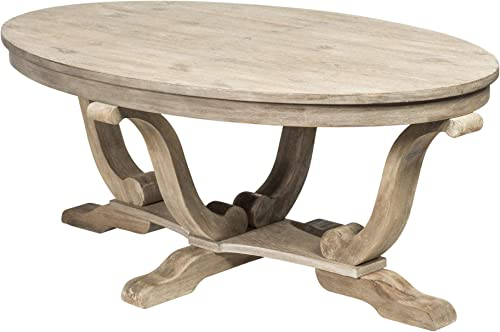 Liberty Furniture Industries Greystone Mill Oval Cocktail Table, 48 x 28 x 19 , Light Gray