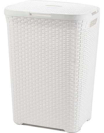 Hampers 2x Plastic Flower Rattan Style 55l Laundry Basket Storage Box Bin Dark Brown Easy To Repair Home & Garden