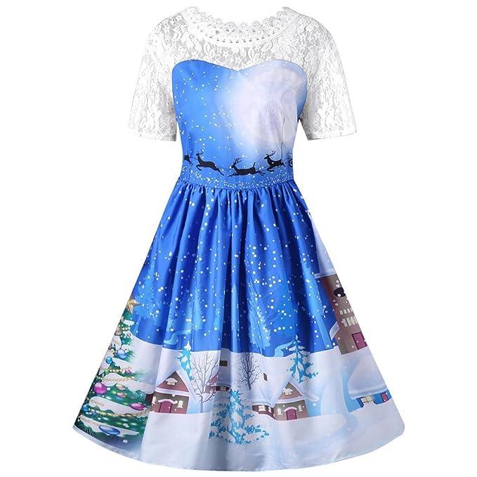 Women Dresses Godathe Women Christmas Party Vintage Dress Santa Claus Deer Print Swing Dress XL-