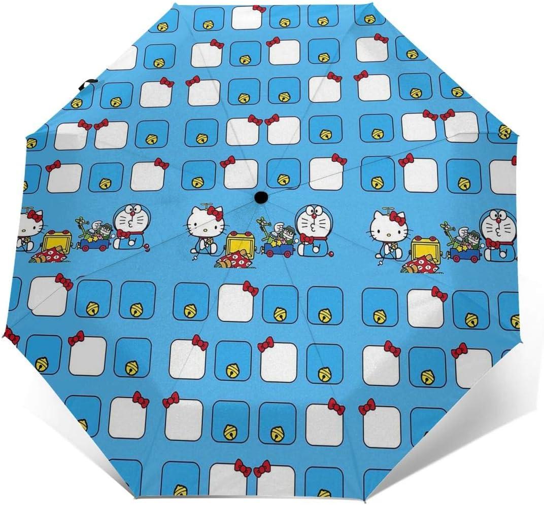 Windproof Travel Umbrella Hello Kitty With Doraemon Compact Folding Umbrella Automatic Open//Close