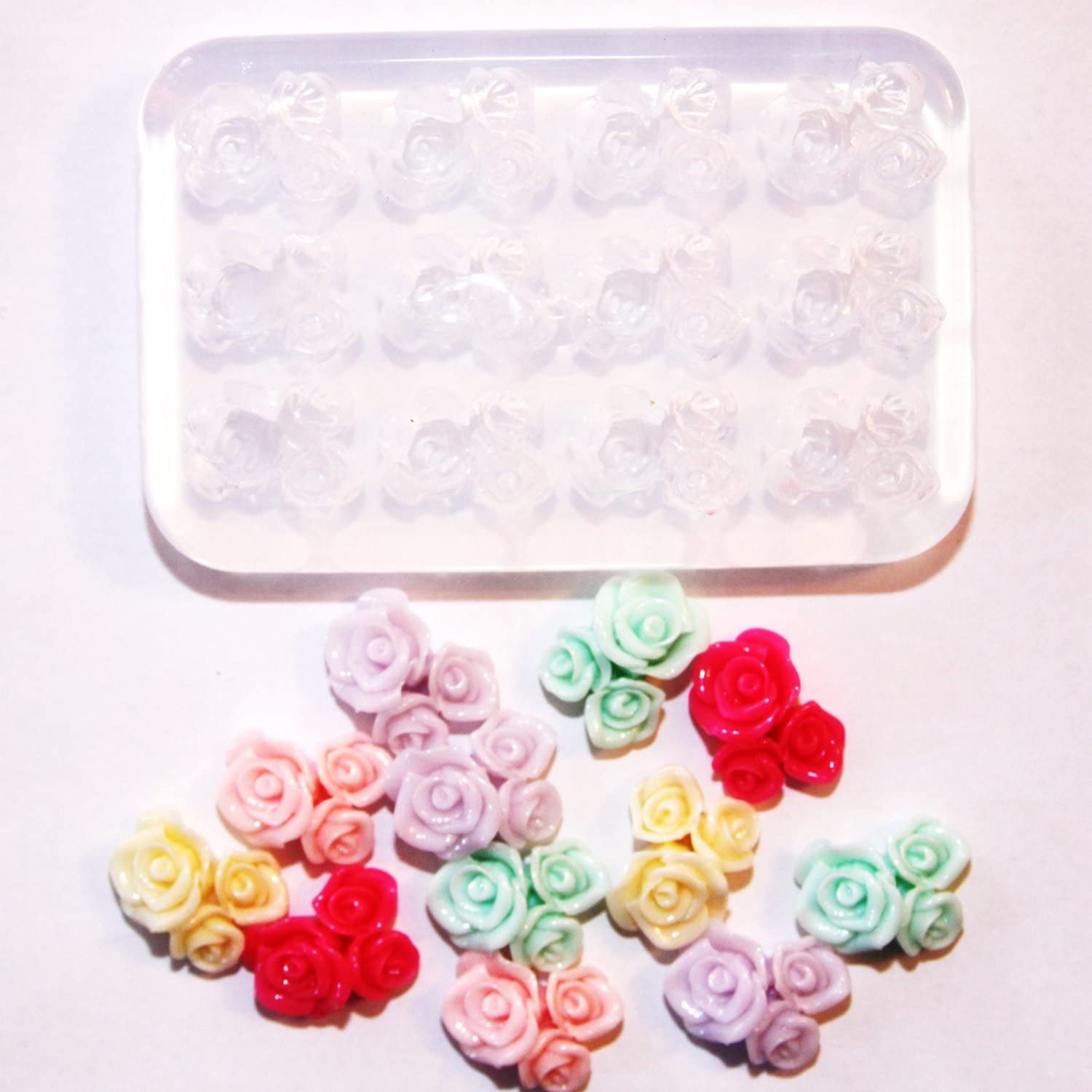 Clear silicone rose flower mold.For stud earrings,bracelet,pendant,Scrapbooking for phoneweddingcraft.1pc .Free USA shipping. 8-03