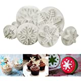 ilauke 6PCS Snowflake Cookie Cutters Decorating Fondant Embossing Tool Snowflake Plunger Cake Cutter