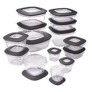 Rubbermaid Premier Easy Find Lids Meal Prep Food Storage Containers, 28-Piece Set, Grey (Renewed)