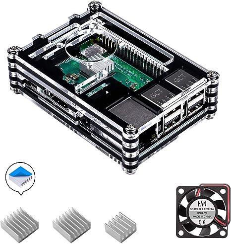 para Caja Raspberry Pi 3 b+, Smraza Case con Ventilador + 3X ...