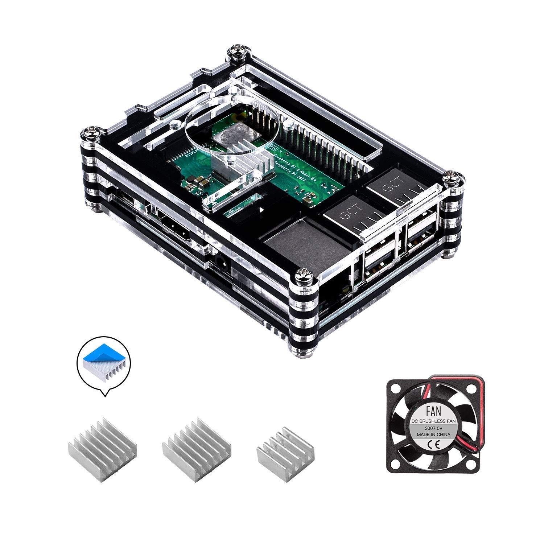 para Caja Raspberry Pi 3 b+, Smraza Case con Ventilador + 3X Disipador Compatible con Raspberry Pi 3 2 Model b+ b (No Incluye la Placa Raspberry Pi)