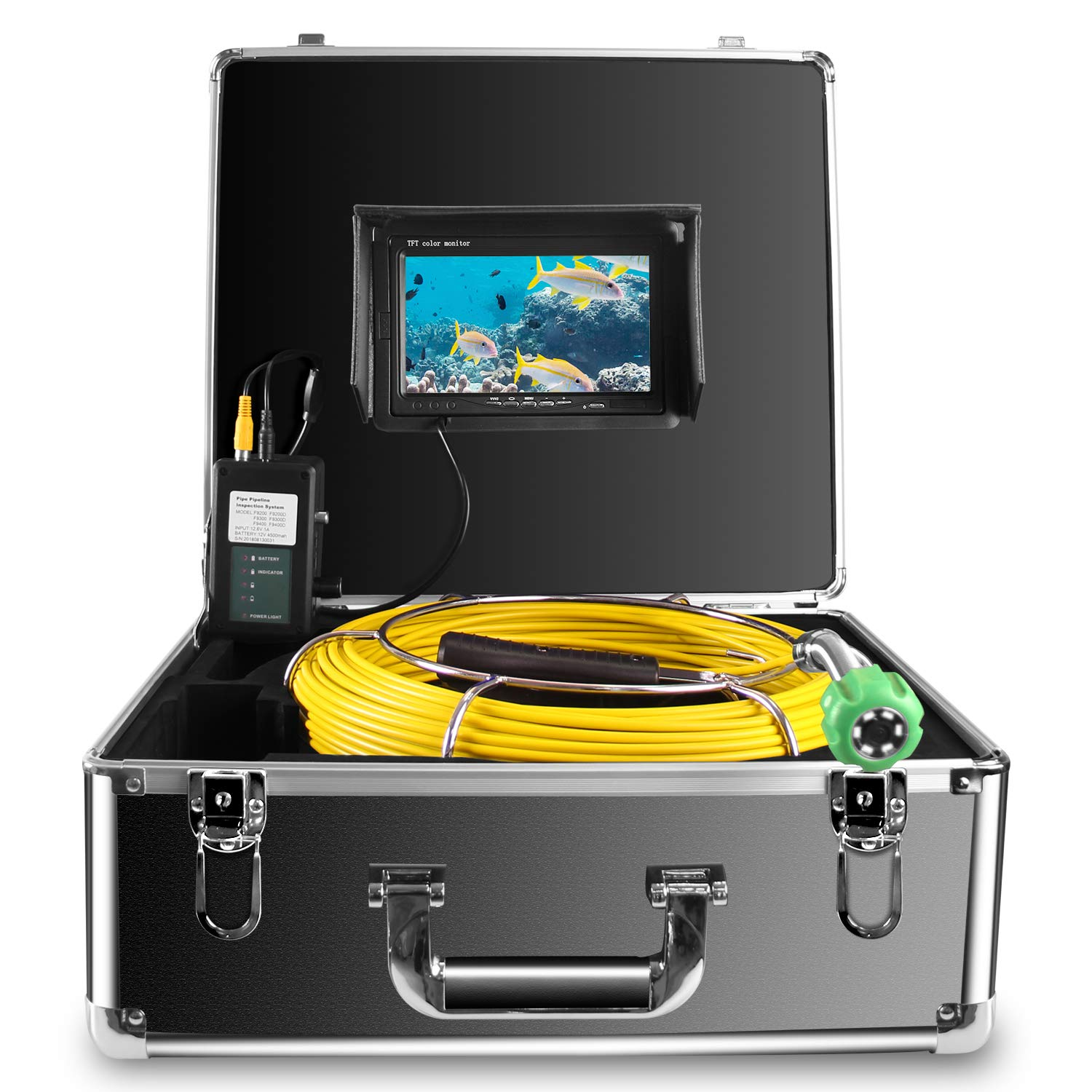 """Anysun Drain Pipe Sewer Video Inspection Camera - Sony CCD 7""""Color LCD Monitor DVR Recorder - DVR 30m/100ft 4GB, TF Endoscopy Video Snake Camera"""