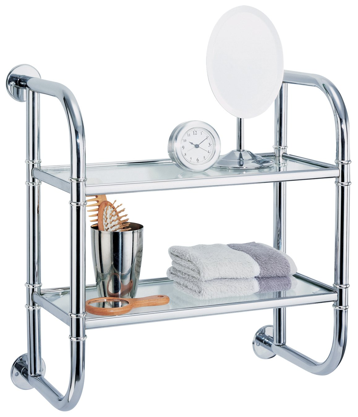 Organize It All 2 Tier Chrome Pipe Mounted Tempered Glass Bathroom Storage Shelf by Organize It All