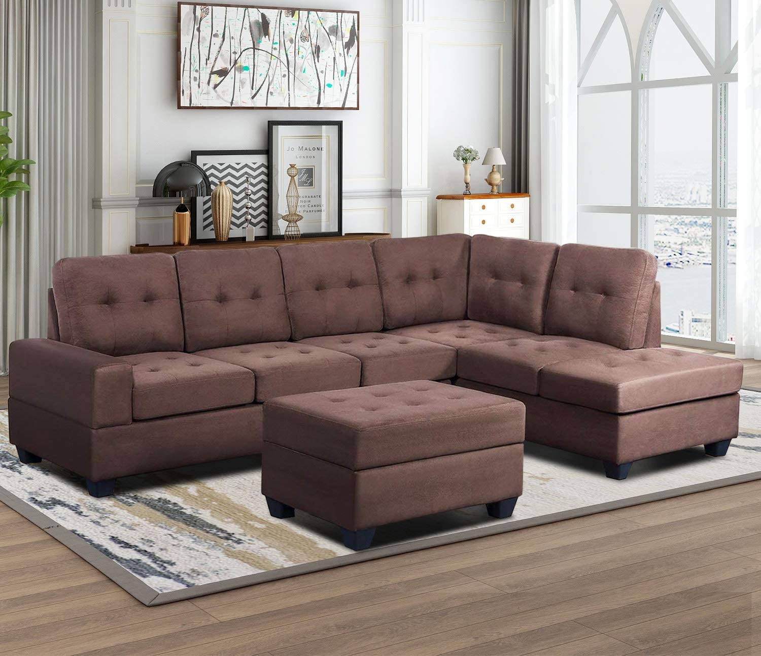 Sectional Sofa 3-Seat with Chaise Lounge and Storage Ottoman