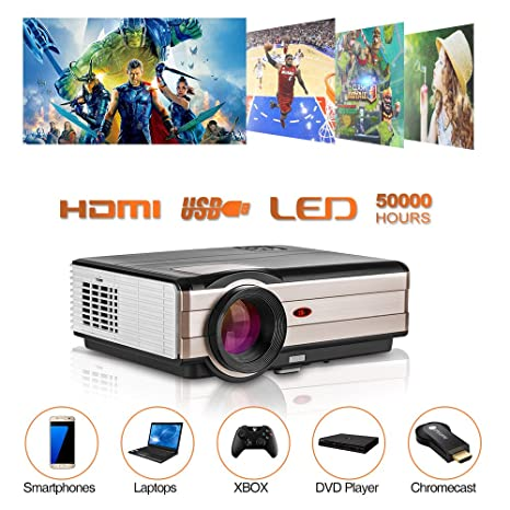 CAIWEI A8 Outdoor Indoor Entertainment Video Projectors 4200 Lumen Full HD 1080P Supportted,Keystone Correction, Zoom, HiFi Speaker Built-in, HDMI, ...
