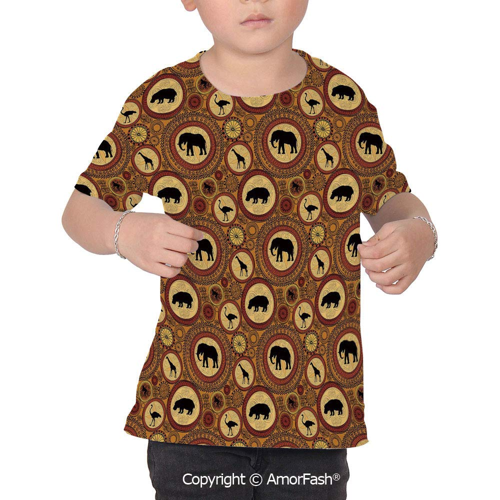 Zambia Childrens Classic Basic Printed Ultra Comfortable T-Shirt,African Ethni