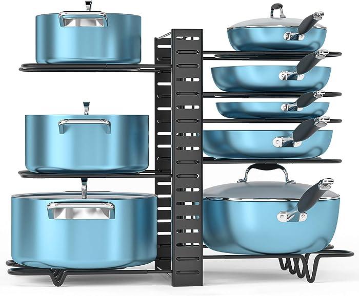 ORDORA Pot and Pan Organizer for Cabinet, 8 Tier Pot Rack with 3 DIY Methods, Adjustable Pot & Pan Holder Under Cabinet for Kitchen, Pot Lid Holders, Lid Organizer for Pots and Pans