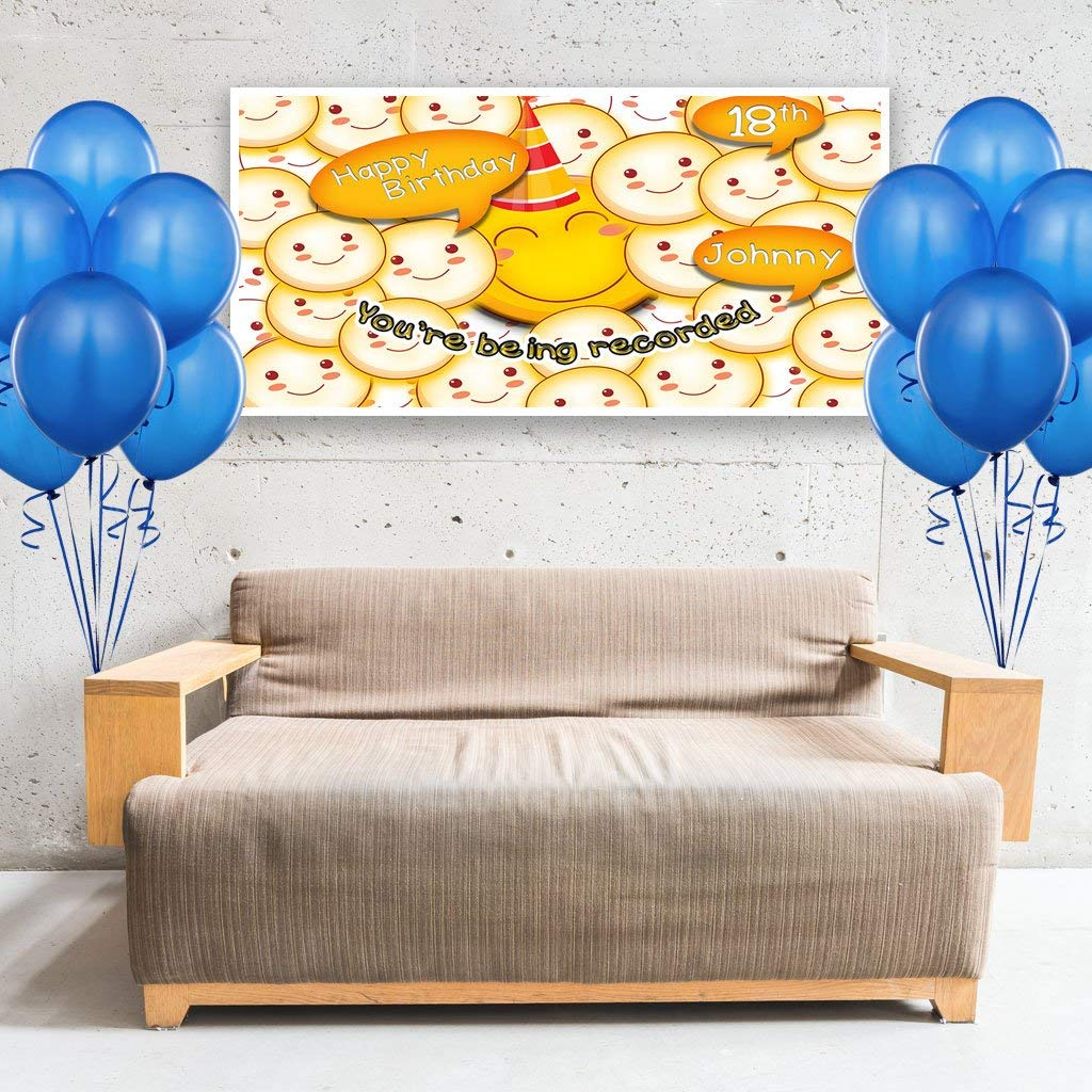 Smile Crowd Emoji Birthday Banner Personalized Party Backdrop Decoration