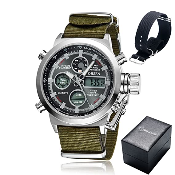YISUYA marca de lujo QUAMER Fashion reloj para hombre acero Inoxidable Pantalla LED para hombre Business Casual impermeable reloj de pulsera reloj ...