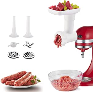 Food Grinder Attachment for Kitchenaid Stand Mixers, as Meat Mincer Accessory including Sausage Stuffer Tubes (White)
