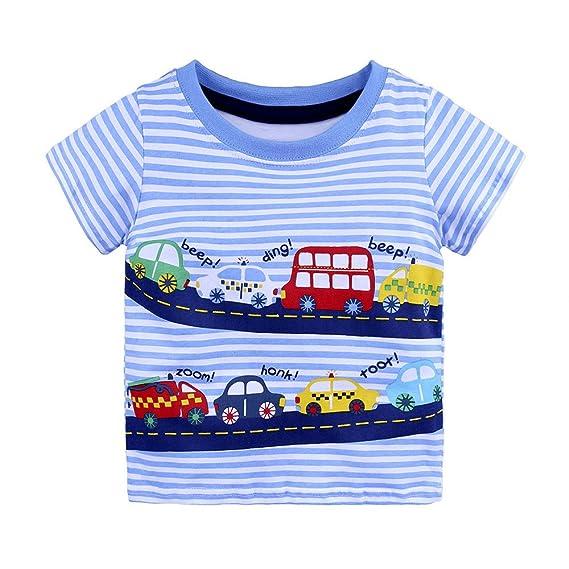Lonshell Camisetas Bebés Niñas Niños Camiseta de Rayas Impresión de Patrón de dibujos animados Tops Mangas