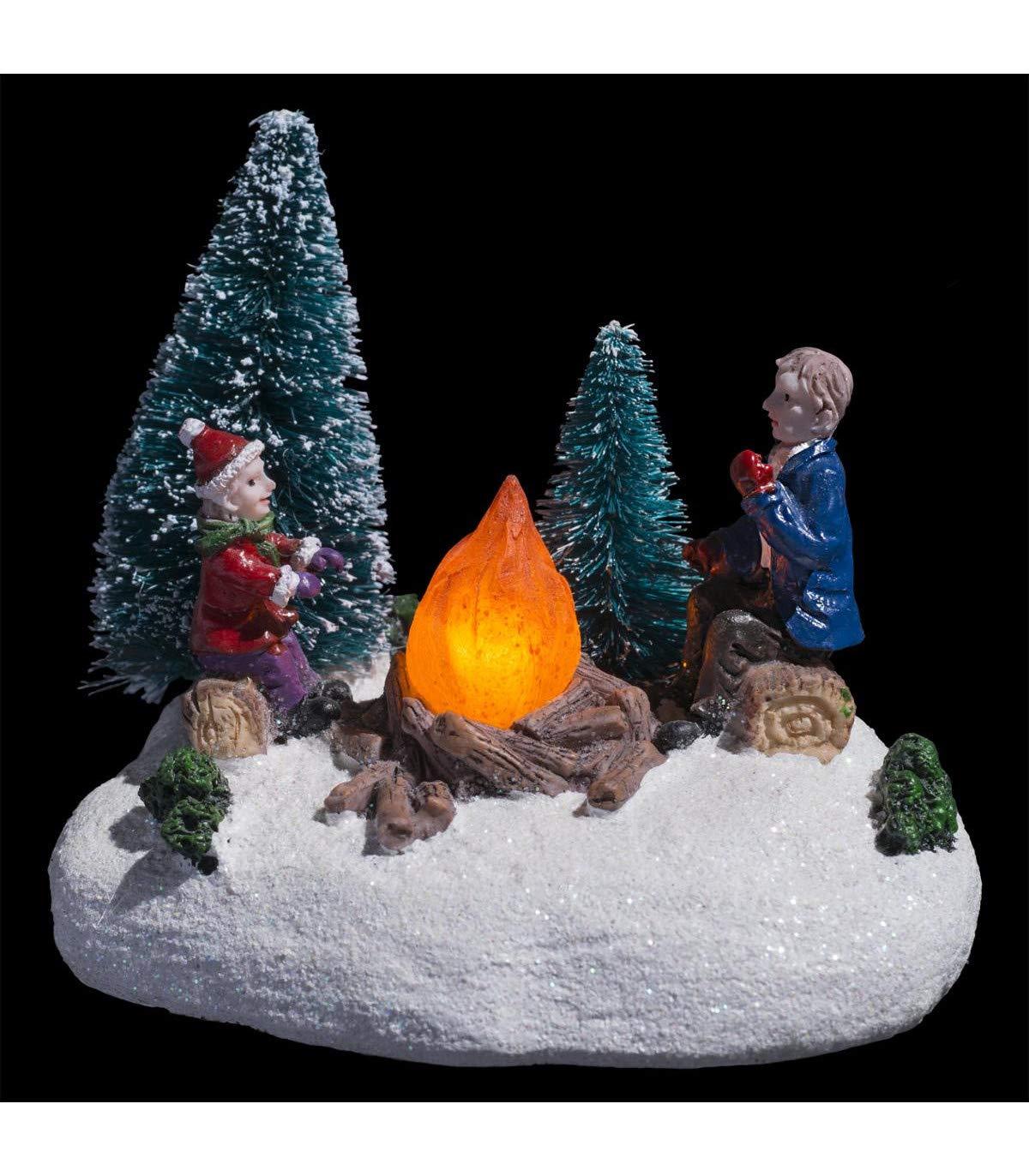 FEERIC CHRISTMAS Village Lumineux sc/ène de Vie /à Piles