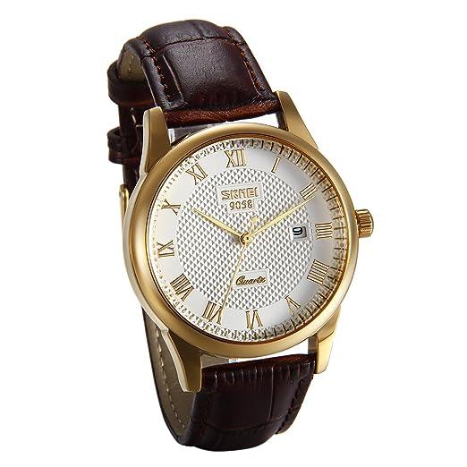 JewelryWe Reloj de Hombre Caballero Blanco Dorado, Diseño Retro Sencillo Con Calendario, Analógico Reloj Vintage Con Correa de Cuero Marrón, Regalo de San ...