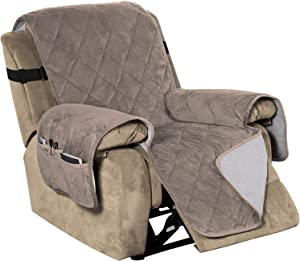 "Recliner Covers Velvet Slip Resistant Recliner Sofa Slipcover Seat Width Up to 28"" Couch Furniture Protector with 2"" Elastic Straps Recliner Cover - Taupe"